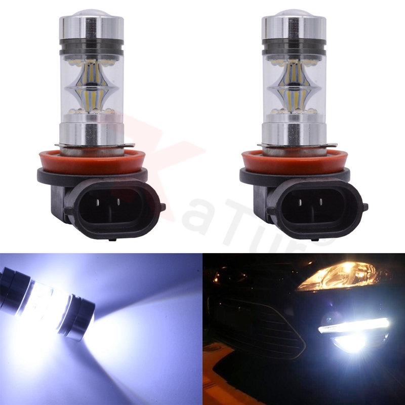 2pcs 100W H8 H11 20-LED Car Fog Light Driving DRL Lamp Car Styling CREESMD Bulb 8000K White 12V/24V Car Styling Led Light Car 1pair led car daytime running light daylight drl fog driving lamp 12v blue white waterproof car styling car accessories