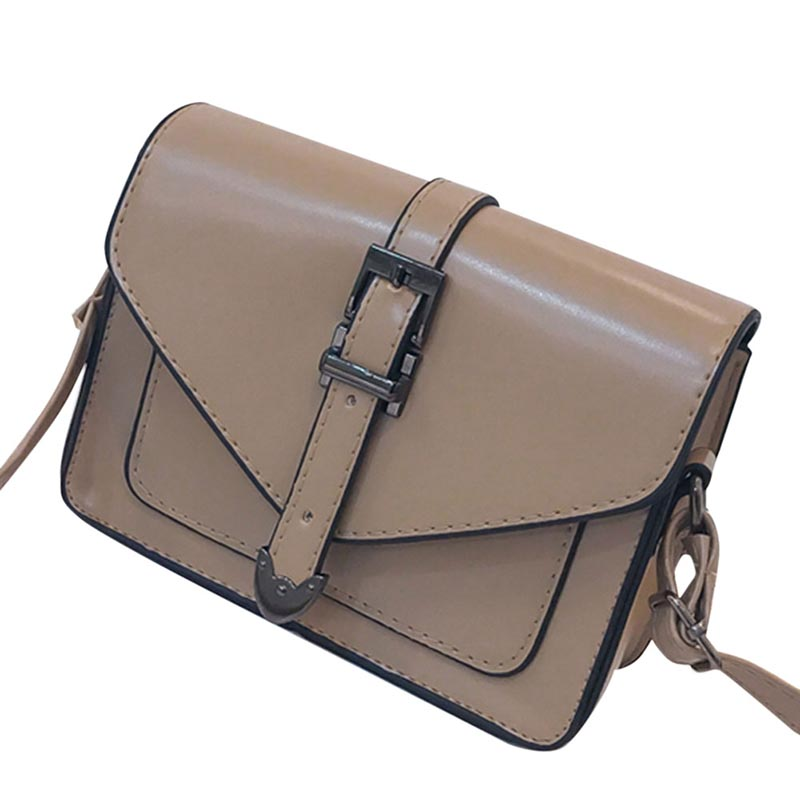 Women PU Leather Bags 2019 Solid Color Fashion Messenger Simple Retro Shoulder Bag Versatile Satchels Bags Coin Purse in Top Handle Bags from Luggage Bags