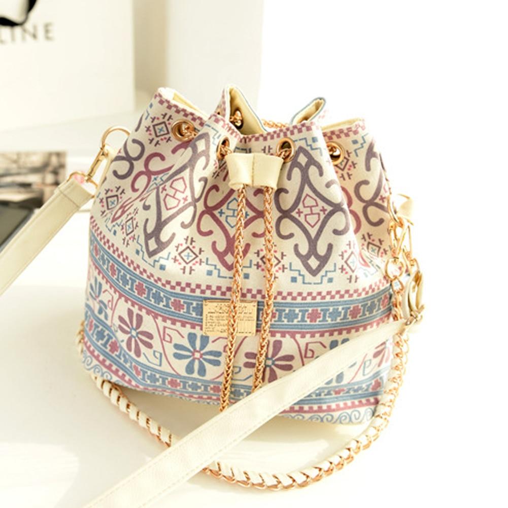 Canvas Drawstring Bucket Bag Shoulder Handbags Faux Pearl Letter Bucket Tote Shoulder Crossbody Bag