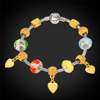 Bracelet Women 18K Gold Plated Heart Jewelry European Style Crystal Silver Color Chain Glass Beads Trendy