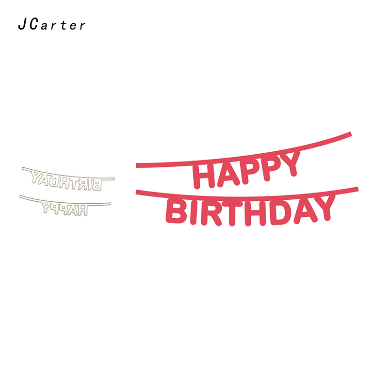 JC New Arrival Happy Birthday Letter Metal Cutting Dies for Scrapbooking DIY Embossing Folder Card Handmade Album Stencil Crafts