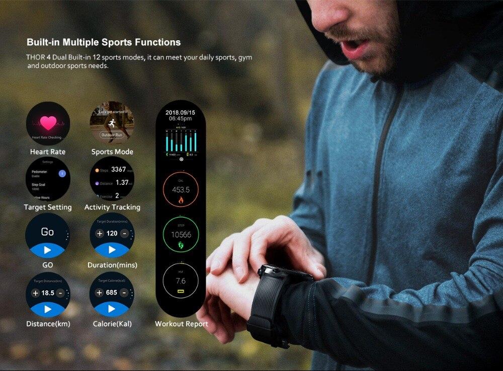 Zeblaze THOR 4 Dual 5.0MP Camera Smart Watch 4G GPS GLONASS Wifi Smartwatches 1GB RAM+16GB ROM Mic Speaker Answer Dial Call 2019 (9)