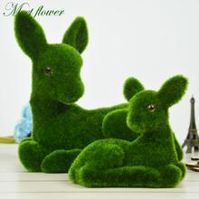Turf Deer Mother And Child Set Handmade Artificial Moss Grass Animal Table  Home Decoration Fake Plant