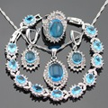 Christmas Gift Blue White Crystal Silver Color Jewelry Sets Necklace Pendant Bracelets Drop Earrings Rings For Women Free Box