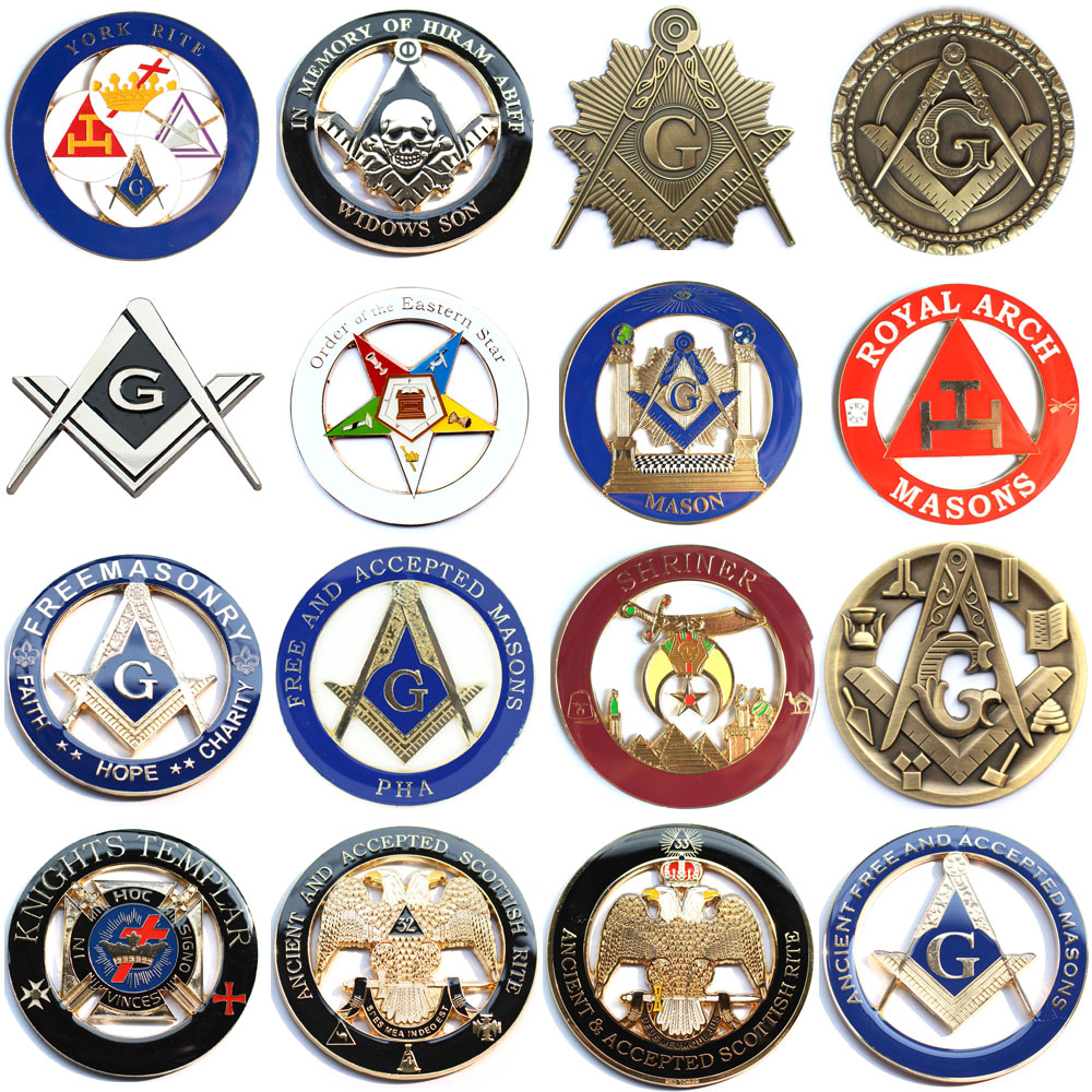 20pcs Masonic Car Emblem Mason Freemason decorations Badges Bronze Motorcycle metal car Emblems stickers-in Pins & Badges from Home & Garden    1
