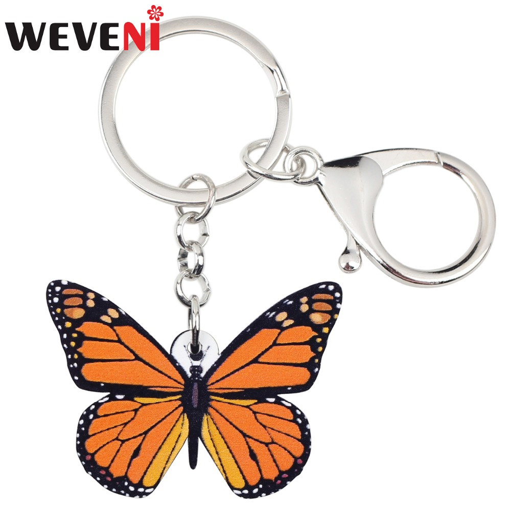 WEVENI  Acrylic Cheap Jewelry Insect Monarch Butterfly Chains Keyring For Women Girl Bag Car Key Bag Party Charms Keychains