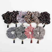 New Fashion Women Hair Ropes Scrunchies Tassel Houndstooth Ring Large Intestine Elastic Band Ponytail Holder Female