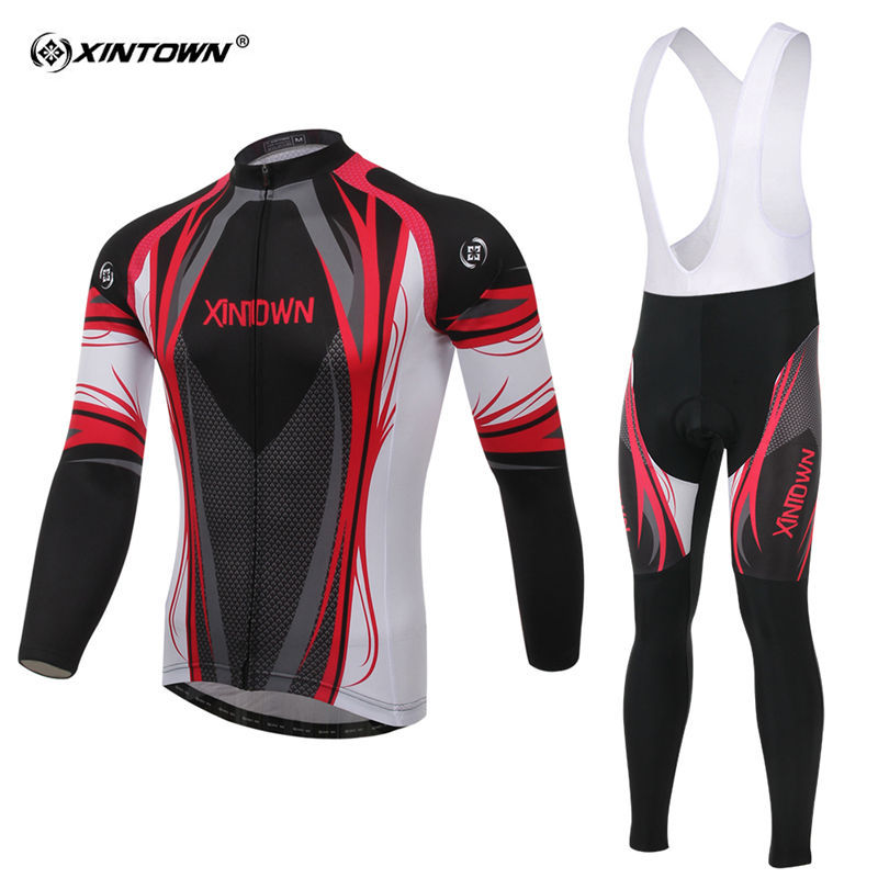XINTOWN 2018 Pro Long Sleeve Cycling Set Men MTB Bike Clothing Uniform Racing Bicycle Clothes Black Maillot Ropa Ciclismo 2017 mavic maillot ciclismo zebra pattern men personality long sleeve cycling breathable bike bicycle clothes polyester s 6xl