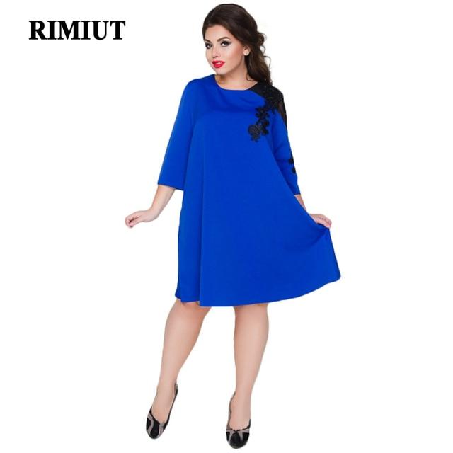 Rimiut Loose Lace summer Dresses big size 2018 Plus Size women Knee-Length  office dress vintage vestidos XXL-6XL 02cbbf4b3060