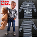 Hot Sale 2016 New Arrive Children Striped T Shirt, Quality Brand Kid's Anchor Printed T Shirt, Half Sleeve Girl's Tee