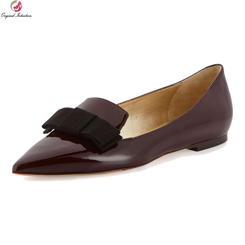 Original Intention New Elegant Women Flats Butterfly-knot Pointed Toe Flat Shoes Fashion Wine Red Shoes Woman Plus US Size 4-15 new arrival spring autumn plus size 11 12 13 14 15 16 17 18 19 20 fashion elegant butterfly knot super high heels single shoes