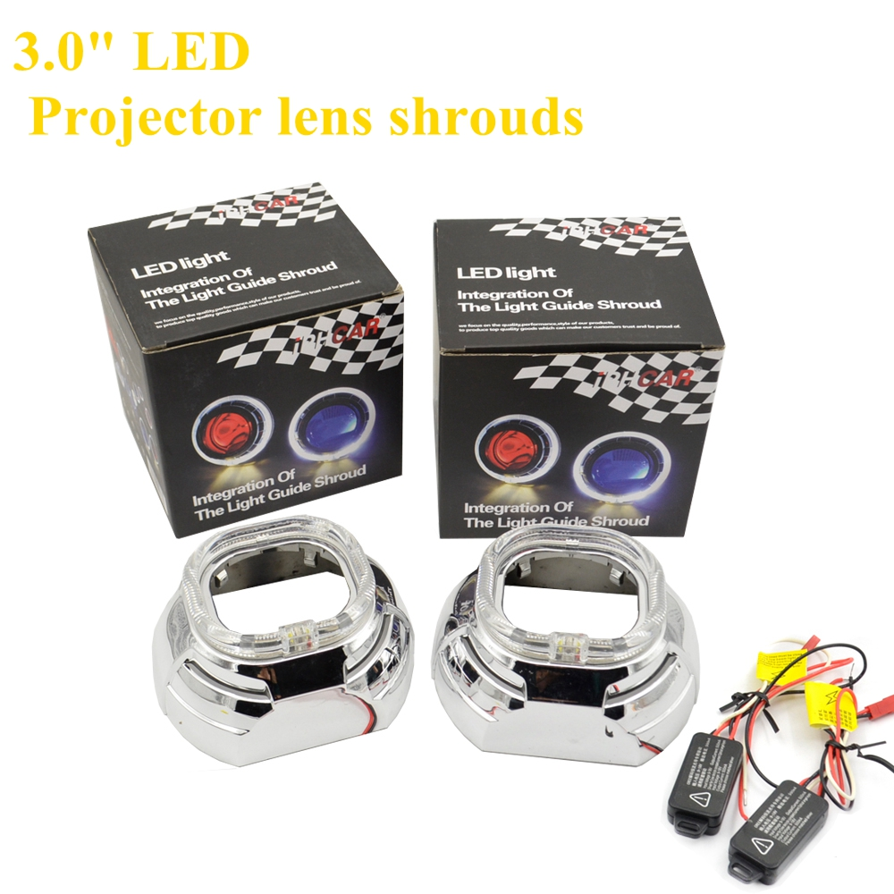2pcs 3.0 inch Projector lens shrouds led day running angel eyes white color hid xenon kit car headlight 220v wireless remote control switch system rf 4 receivers 3transmitter for led light lamp freeshipping