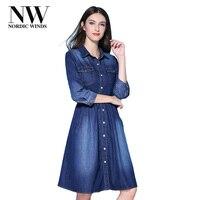 Nordic Winds Denim Dress Women Casual Fall A Line Denim Dresses Knee Length Australia Blue Jeans