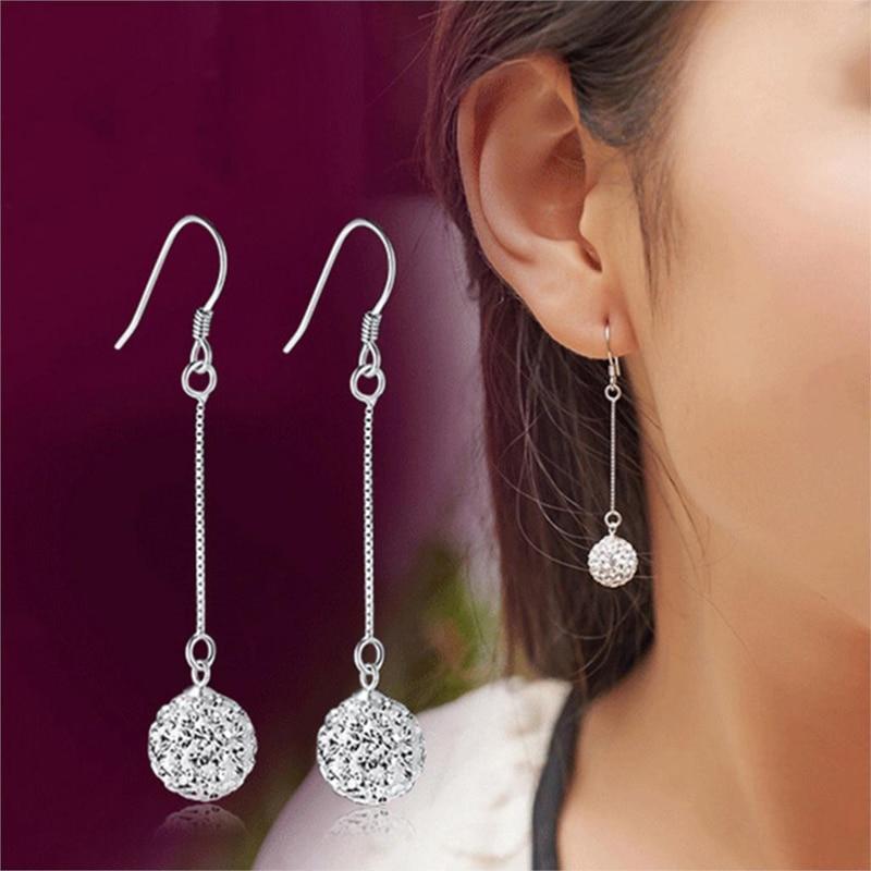 1pair Fashion Crystal Ball Drop Earrings for Women Hanging Earrings Korean Long Tassel Dangle Earrings Statement Jewelry Earring
