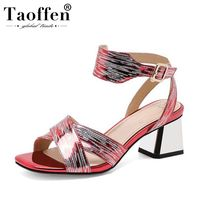TAOFFEN Women High Quality Fashion Classic Sandals Party Sexy Hot Sale High Heel Summer Shoes Women Mixed Color Size 34 39