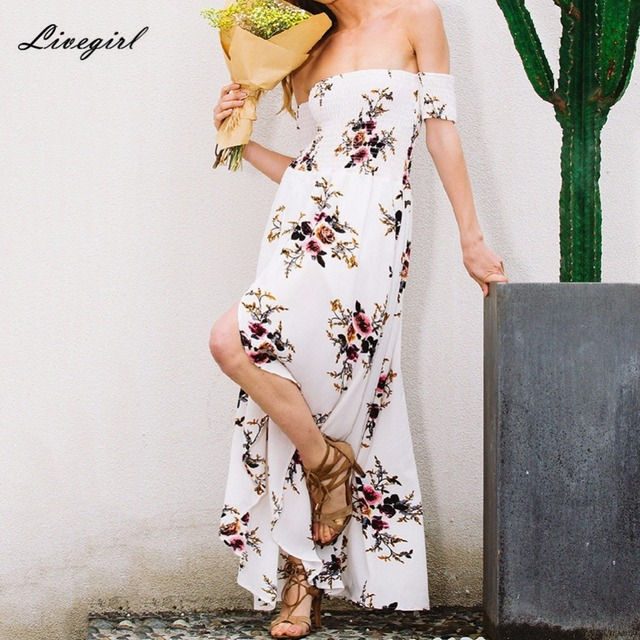 5a1482b2cc Women Boho Long Dress Summer Off Shoulder Beach Dresses Floral Print  Vintage Slash Neck Maxi Dress Vestidos De Festa