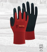 Red Garden Safety Glove 13 Guage Nylon With Nitrile Sandy Coated Work Glove For Gardening nmsafety 13 gauge nylon nitrile coated gloves nitrile work glove nylon knitted nitrile palm gloves