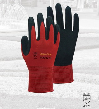 Red Garden Safety Glove Nylon With Nitrile Sandy Coated Work Glove For Gardening