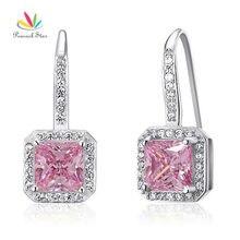 Pavo real Estrella 1.5 Ct Lujo Pink Creado Diamond Esterlina Del Sólido 925 de Plata de Dama de Honor Nupcial Pendientes Joyería CFE8123