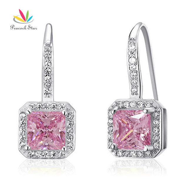 Peacock Star 1.5 Ct Fancy Pink Created Diamond Solid 925 Sterling Silver Bridal Bridesmaid Earrings Jewelry CFE8123