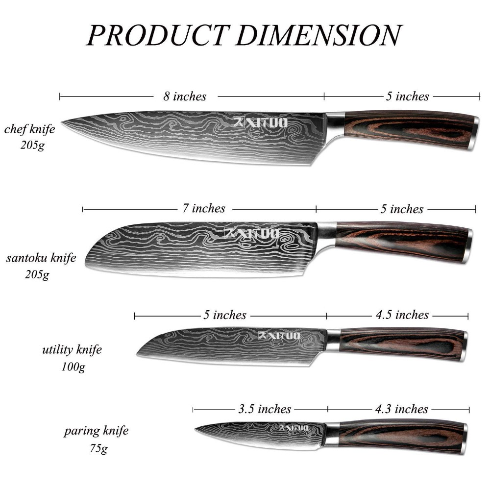 US $41.95 36% OFF|XITUO Stainless Steel Kitchen Knives Set 4 pcs 7CR17  Japanese Style Chef Knife Santoku Meat Cleaver Kitchen Knife Kitchen  Access-in ...