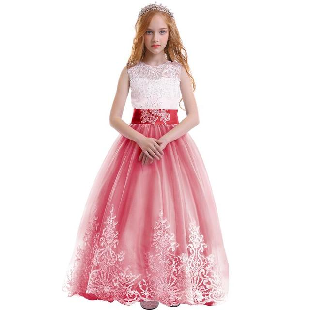 a755483a4 Elegant Baby Kid Girls Dress Red Tulle Trailing Long Princess Dress for Birthday  Party Wedding Bridesmaid Kids Dresses for Girls