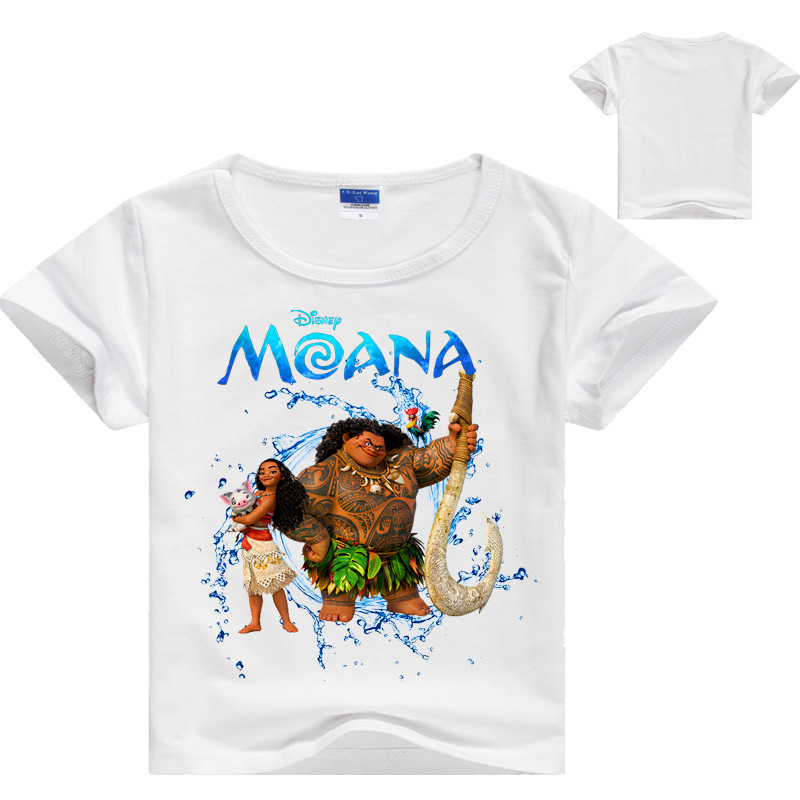 Moana Maui Printing T Shirt Girl Kids Cotton Short Sleeves Top Moana Cosplay Tee Girl Kid Top Halloween Chritmas Gift