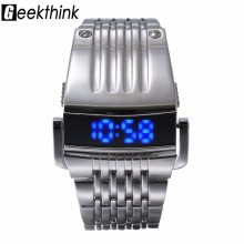 Unique Iron Man's watch Steel Blue Red Digital LED luxury military Fashion Sport Dress Wrist Watch New Male clock male New