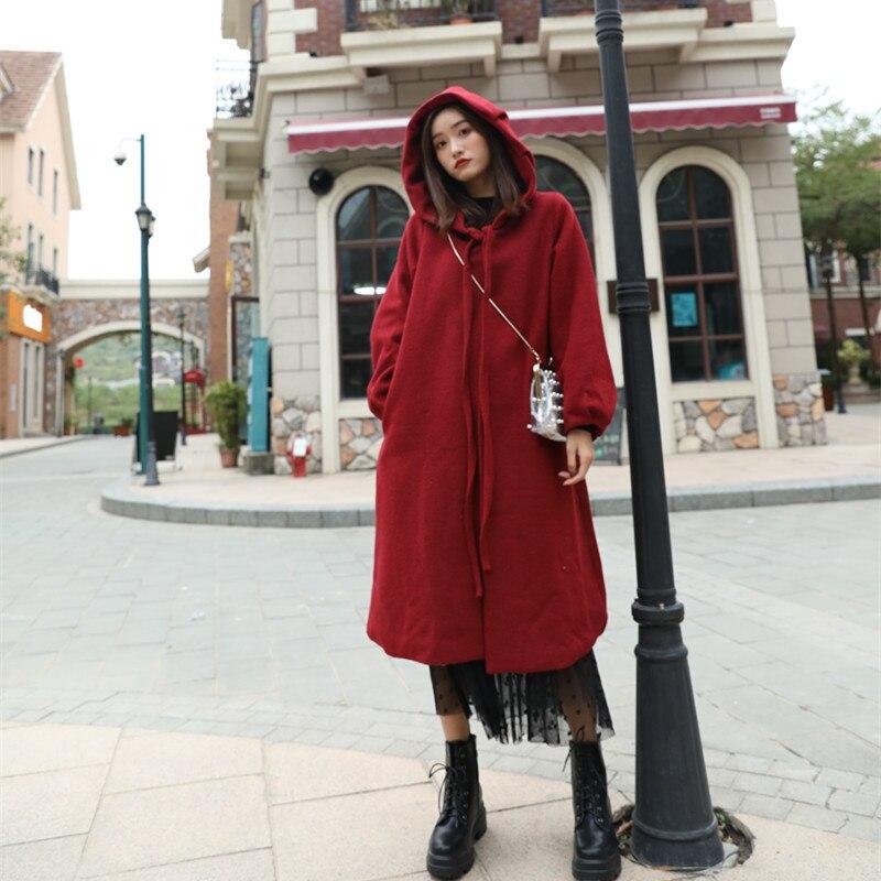 Longue Red De Automne 2018 Capuchon Cape Wine Coréenne Mode Tranchée Laine Femme À X172 Hiver Femmes Manteau wvN8n0Om