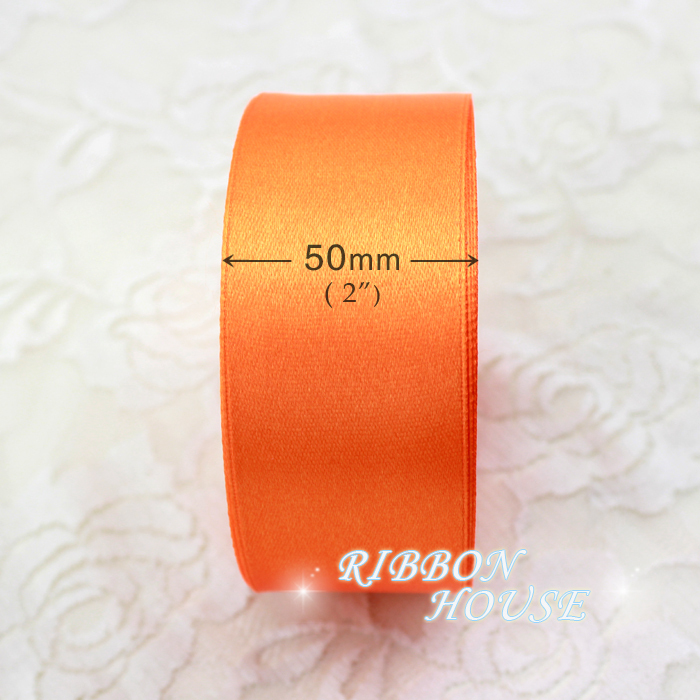 (25 yards/roll) 2'' (50mm) Orange Red single face satin ribbon webbing decoration gift Christmas ribbons
