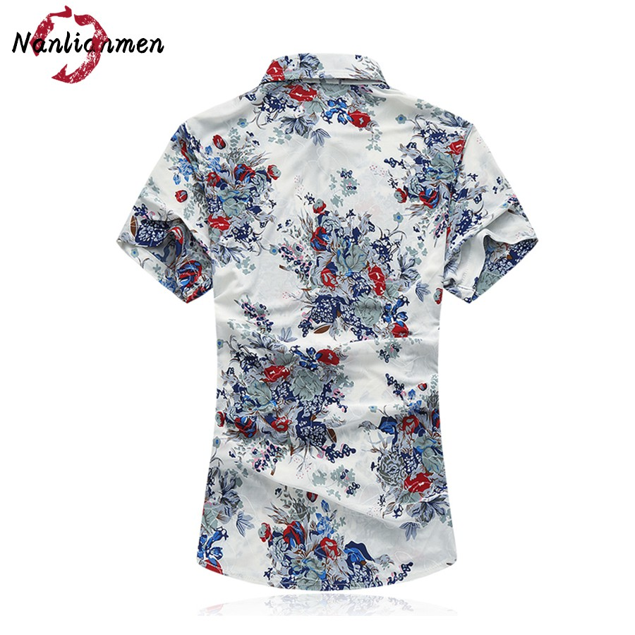2017 Hot Sale Casual Shirts New Flower Shirt Men Short Sleeve