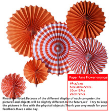 6pcs/lot Orange Cheap Paper Fans For Wedding Tissue Paper Fans Flowers Birthday Party Holid