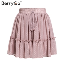 BerryGo print mini women skirts High waist polka dot tassel green A line summer skirt Sexy ruffle beach female tutu skirts 2019