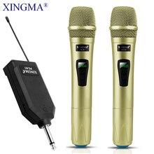 מיקרופון אלחוטי מקצועי כף יד 2 ערוצים סטודיו כפולה VHF דינמי מיקרופון עבור מערכת קריוקי KTV מחשב XINGMA AK 100