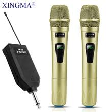 Wireless Microphone Professional Handheld 2 Channels Studio Dual VHF  Dynamic Mic For Karaoke System Computer KTV XINGMA AK 100