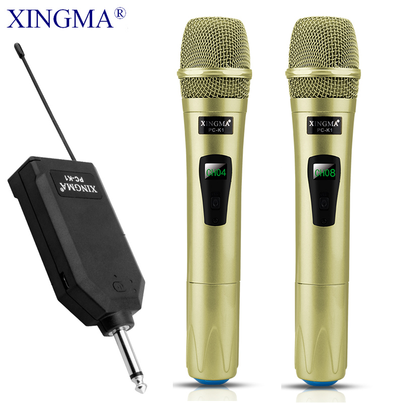 цена на XINGMA PC-K1 Wireless Microphone Professional Handheld 2 Channels Studio Dual VHF Dynamic Mic For Karaoke System Computer KTV