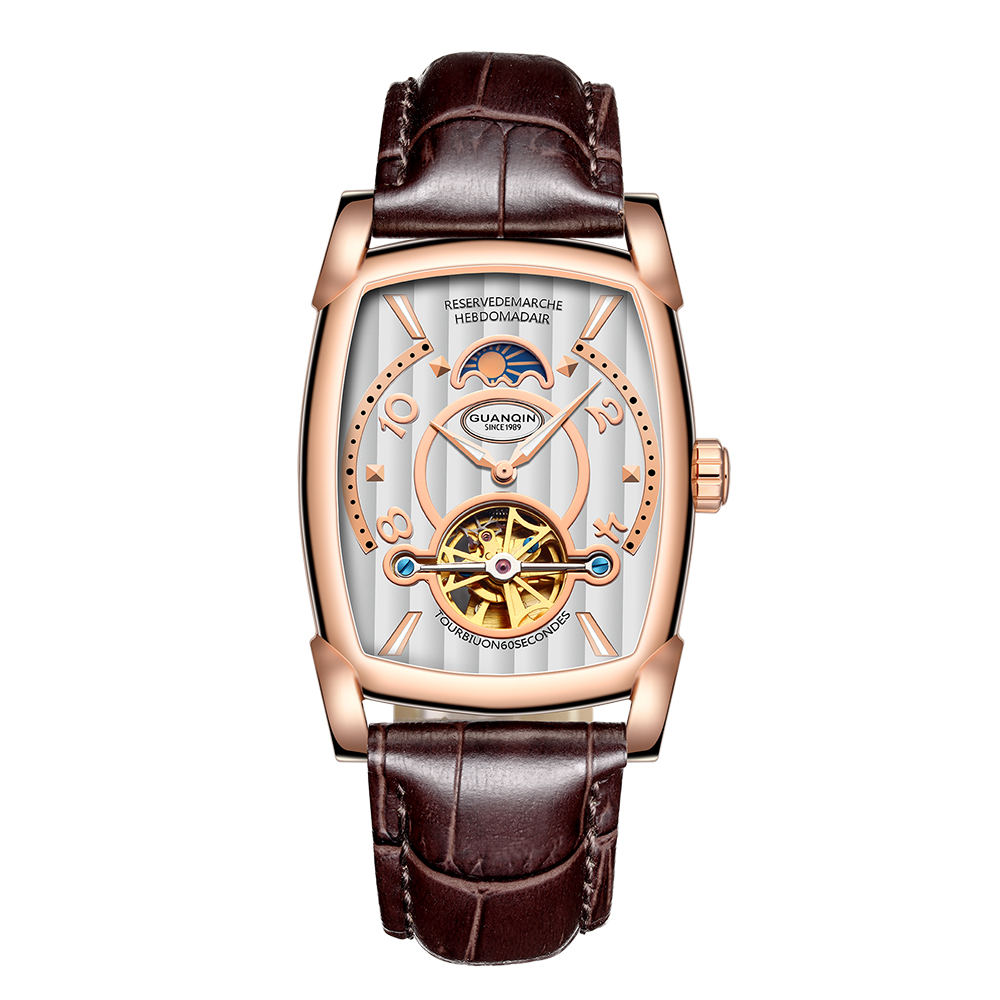 GUANQIN Automatic Mechanical Watches Men Sport Luxury Brand Luminous Watch Fashion Casual Leather Wristwatch relogio masculino