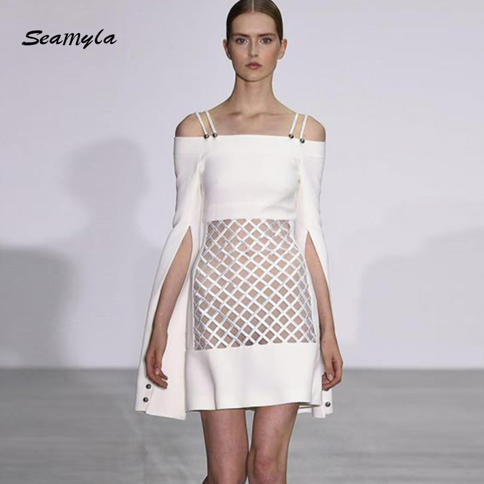 Seamyla High Quality Designer Runway Dress 2017 New Fashion Women White Evening Party Dresses