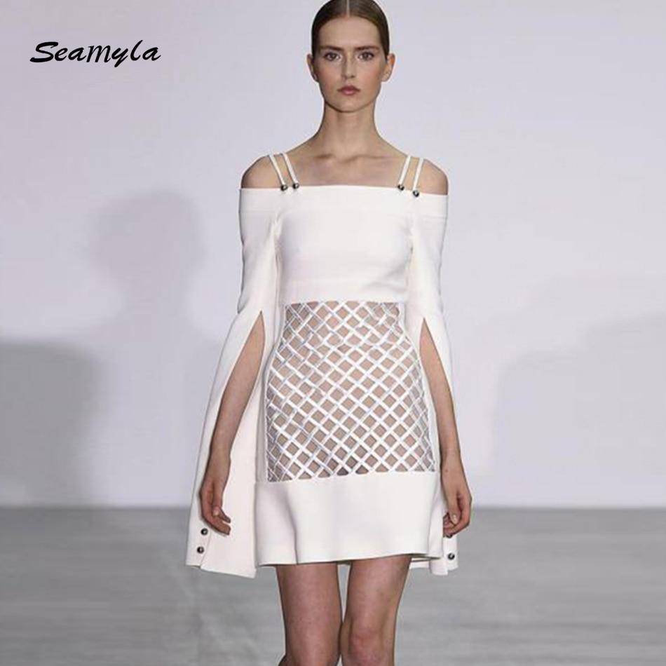 Seamyla High Quality Landebahn Dress 2018 Neue Mode Frauen Weiße ...