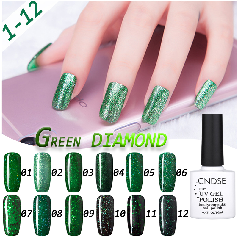 CNDSE Gel Nail Polish 10ML 3D Green Diamond Glitter Gel Polish UV ...