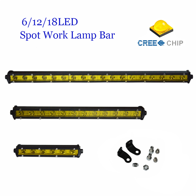 Yeslight 6/ 12 /18 Spot LED Light Bar Spot Offroad For Trailer Marine Truck SUV ATV JEEP LED Driving Work Lamp With CREE Chips cree red round 7inch 90w led bar 3d lens spot beam offroad led work light bar trailer car truck 4x4 atv suv auto driving lamp12v