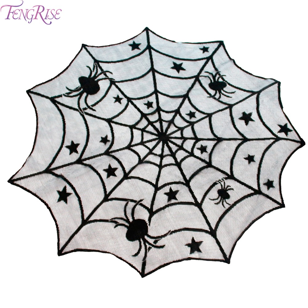 Halloween tablecloth - Fengrise 100cm Lace Black Spider Wed Halloween Table Cloth Home Decoration Background Tablecloth Halloween Party Supplies