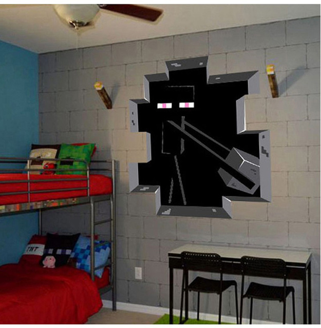 Minecraft Wall Sticker Home Decor Minecraft Enderman Decal Diy Removable 3d Wall Sticker For Kids Room & Minecraft Wall Sticker Home Decor Minecraft Enderman Decal Diy ...