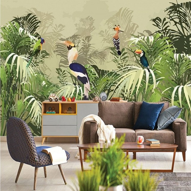 Custom Wallpaper Vintage Rainforest mural parrot Palm leaf