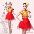 Chinês antigo traje dança do leque das mulheres trajes de dança folclórica nacional Dragão trajes cheerleading roupas de dança yangko tambor