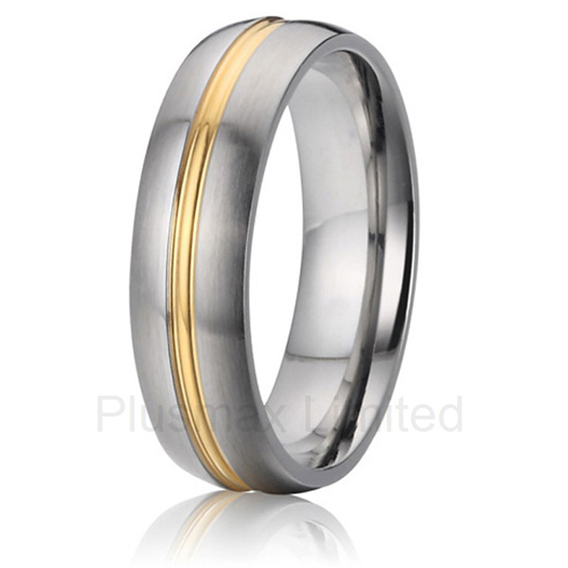 OEM/ODM Global distributor classic gold color line brushed wedding band jewelry fashion rings for couples