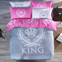 New Arrival 100 Cotton Fashion Style Black White Pink Crown Queen King Bed Sheet Set Bedclothes