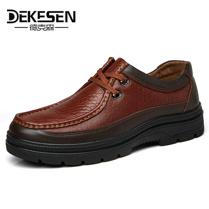 DEKESEN Mens Winter Casual Shoes 100% Genuine Leather Shoes High Quality Comfort Business Man Footwear Nonslip Rubber Size 38-49