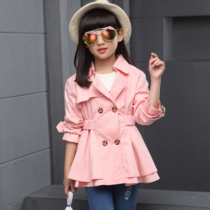 Fashion Windbreaker for Girl 2018 New Autumn Double Breasted Trench Coat Girls Cotton Lotus Leaf Children's Coat for Girl Th004 2017 autumn girl doll shirt the fashionable two piece set of pure color lotus leaf coat with harness sets tide