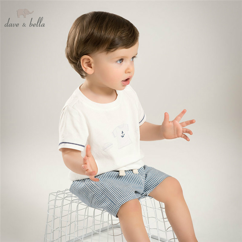 DB5184 dave bella summer baby boys clothing sets white top striped shorts child set infant clothes kids sets baby costumes zaful new cami wrap top with striped shorts tied slip top women crop summer beach stripe top high waisted shorts